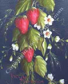 tole painted strawberries with oil paint