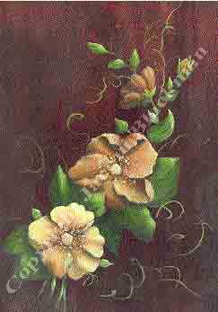Burnt umber and sienna background to flower painting