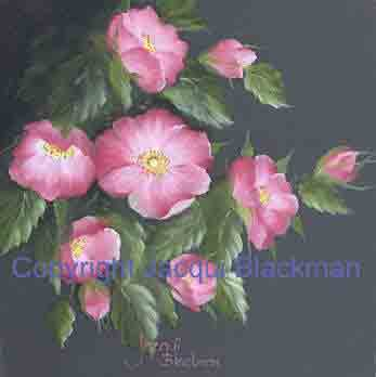 wild roses painted on canvas