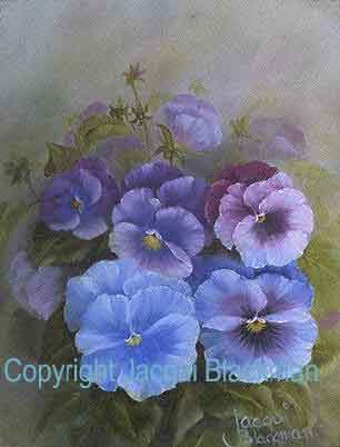 pansies painted wet-on-wet with oils on canvas