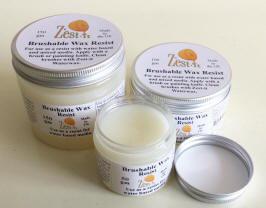 pots of brushable wax resist